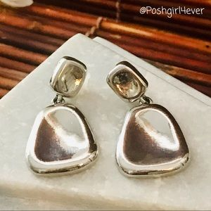 Chico's Silver Tone Large Dangle Post Earrings